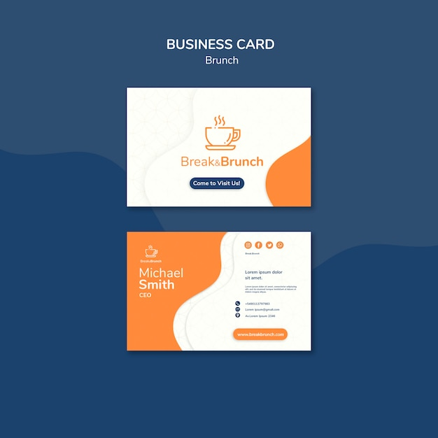 Modelo de cartão-de-visita - brunch Psd grátis