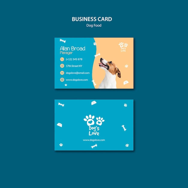 Modelo de cartão de visita com comida de cachorro Psd grátis