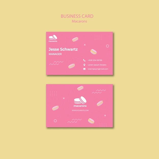 Modelo de cartão de visita com macarons Psd grátis
