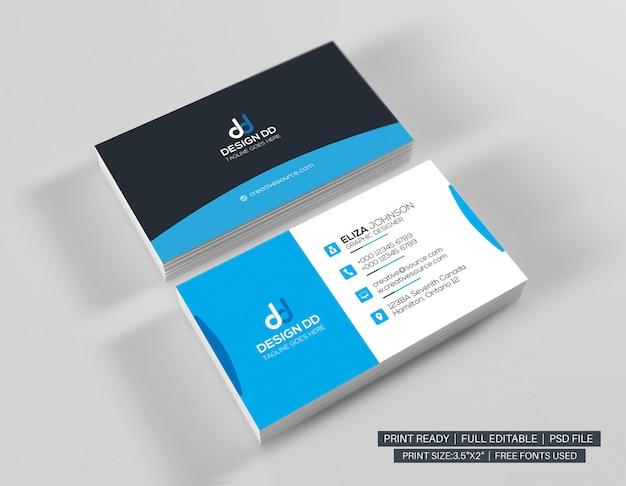 Modelo de cartão de visita moderno ciano Psd Premium