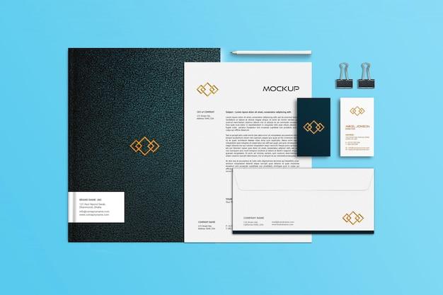Modelo de cartão de visita, papel timbrado e notebook Psd Premium