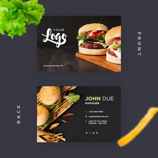 Modelo de cartão de visita para restaurante com hambúrgueres Psd grátis