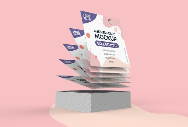 Modelo de cartão de visita quadrado flutuante isolado Psd Premium