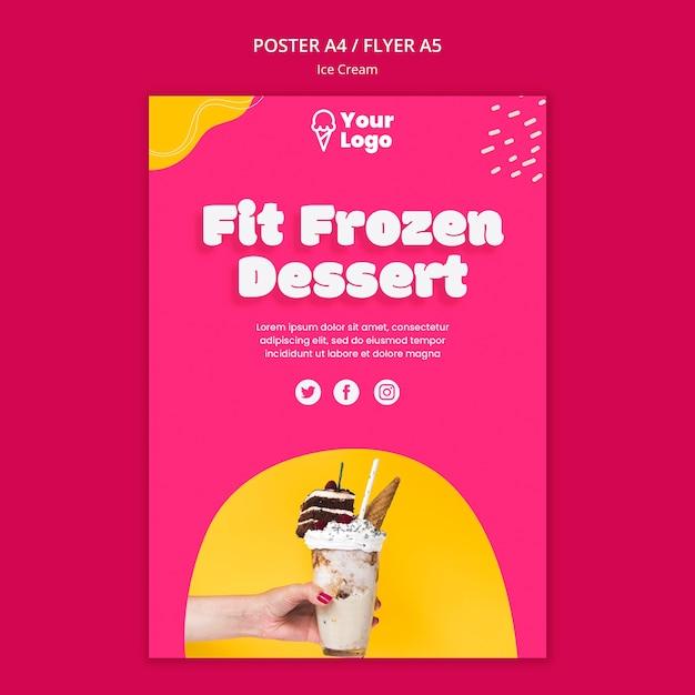 Modelo de cartaz - ajuste sobremesa congelada Psd grátis