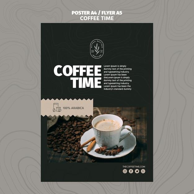 Modelo de cartaz - alta vista café na xícara e grãos de café Psd grátis