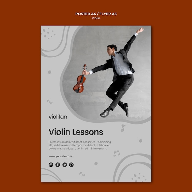 Modelo de cartaz - aulas de violino Psd grátis