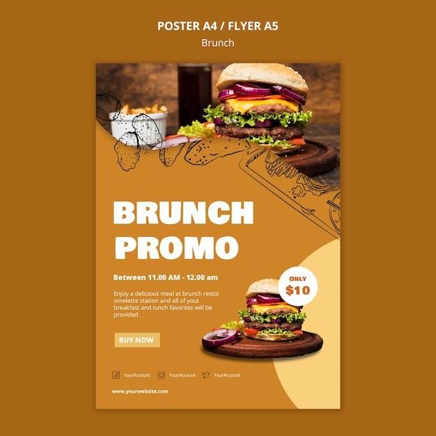 Modelo de cartaz - brunch Psd grátis