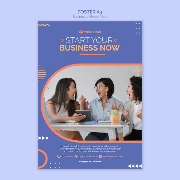 Modelo de cartaz com conceito de evento de negócios Psd grátis