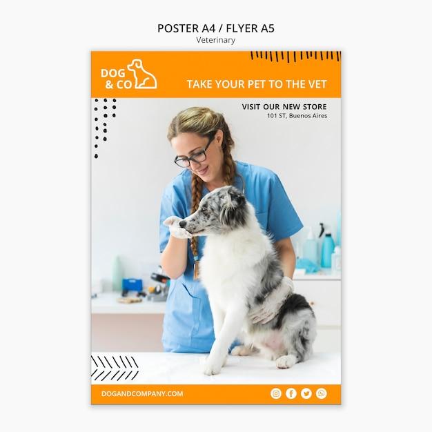 Modelo de cartaz com conceito veterinário Psd grátis