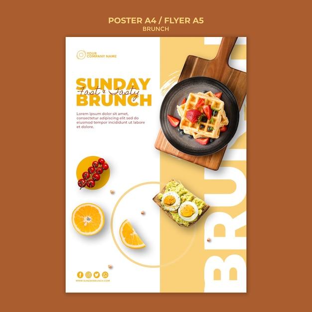 Modelo de cartaz com tema de brunch Psd grátis
