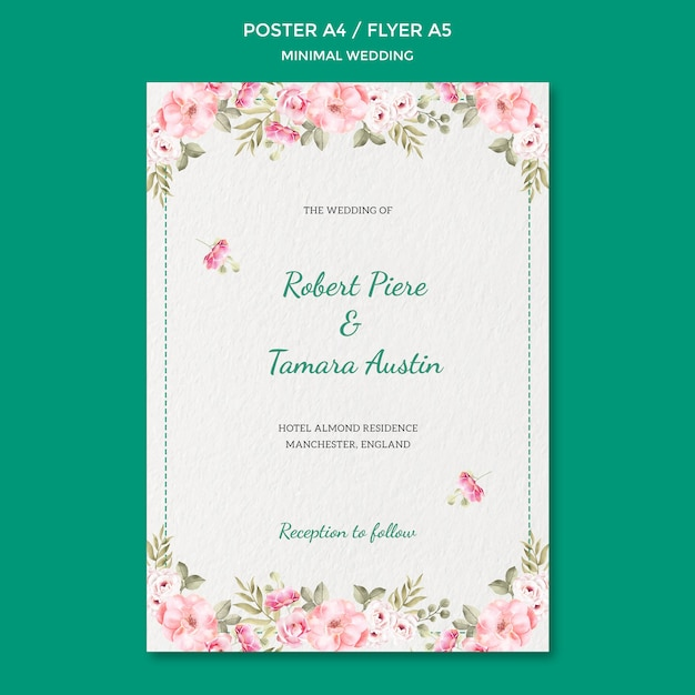 Modelo de cartaz com tema de casamento Psd grátis