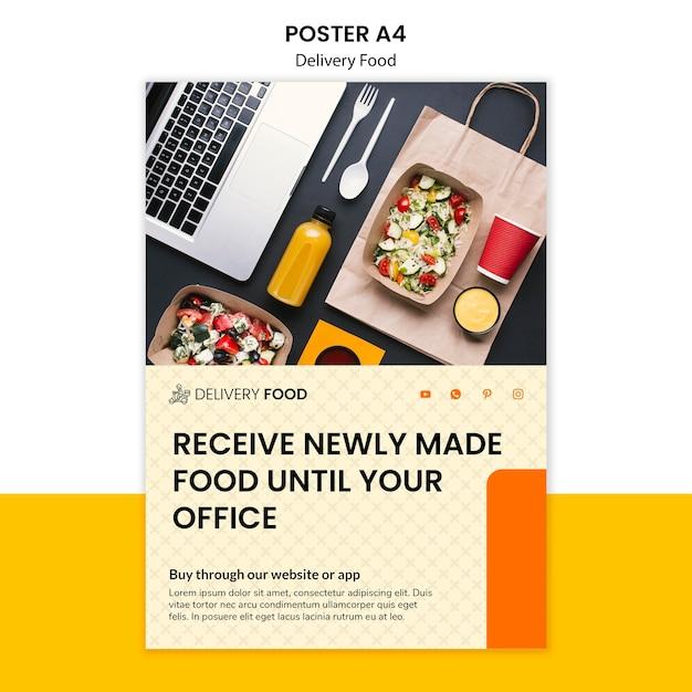 Modelo de cartaz - comida de entrega Psd grátis