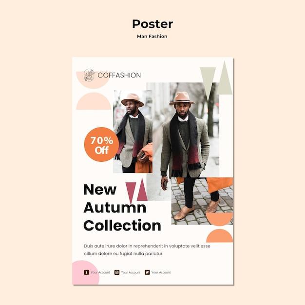 Modelo de cartaz - conceito de moda homem Psd grátis