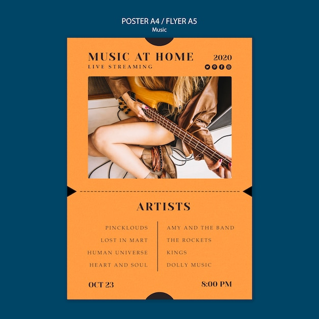 Modelo de cartaz - conceito de música Psd grátis