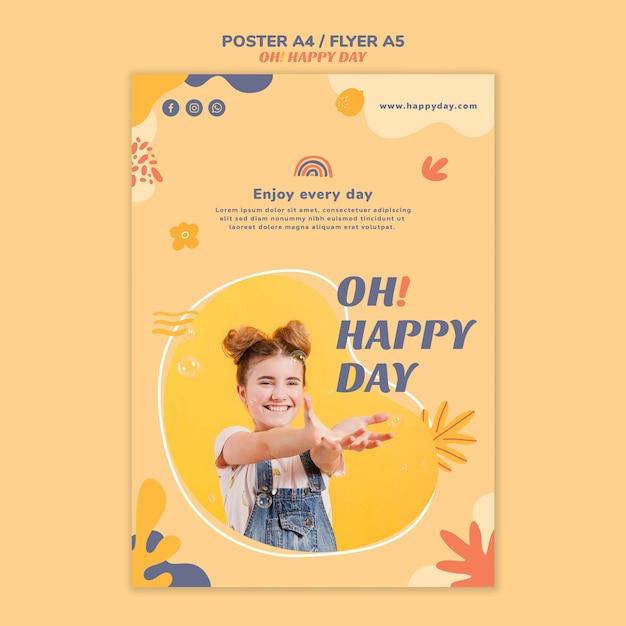Modelo de cartaz conceito feliz dia Psd grátis
