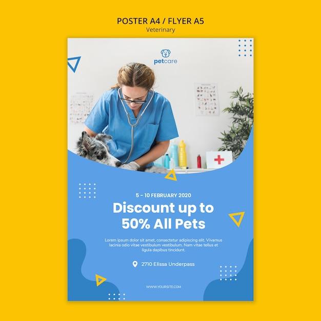 Modelo de cartaz - consulta veterinária desconto Psd grátis