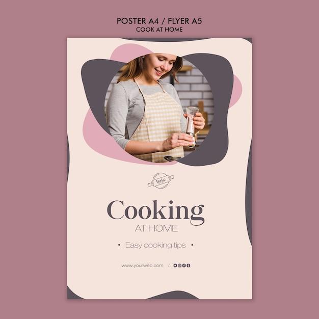 Modelo de cartaz - cozinhar em casa Psd grátis