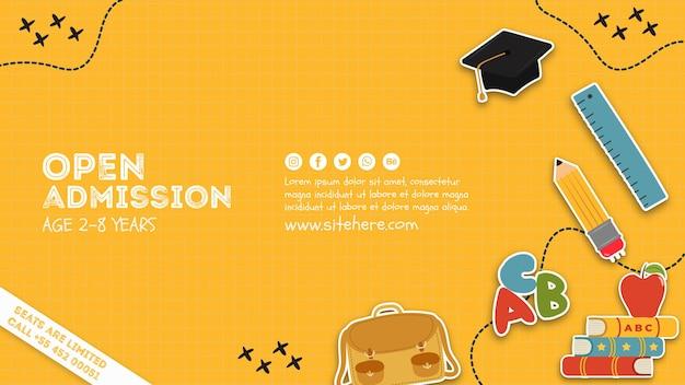Modelo de cartaz de admissão aberta criativa Psd Premium