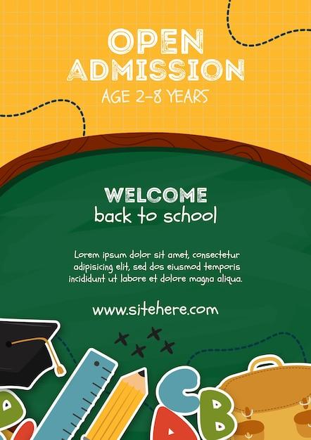 Modelo de cartaz de admissão aberta para crianças Psd grátis