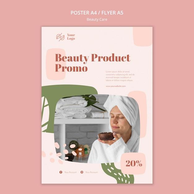Modelo de cartaz de anúncio de cuidados com a beleza Psd grátis