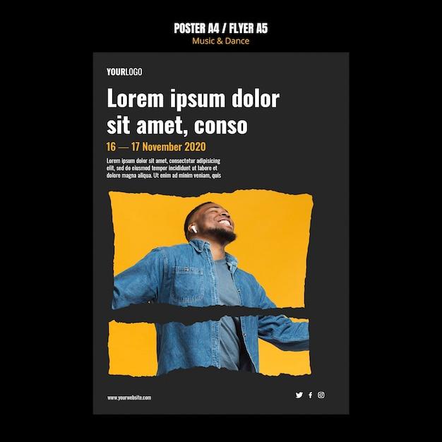 Modelo de cartaz de anúncio de eventos de música e dança Psd grátis