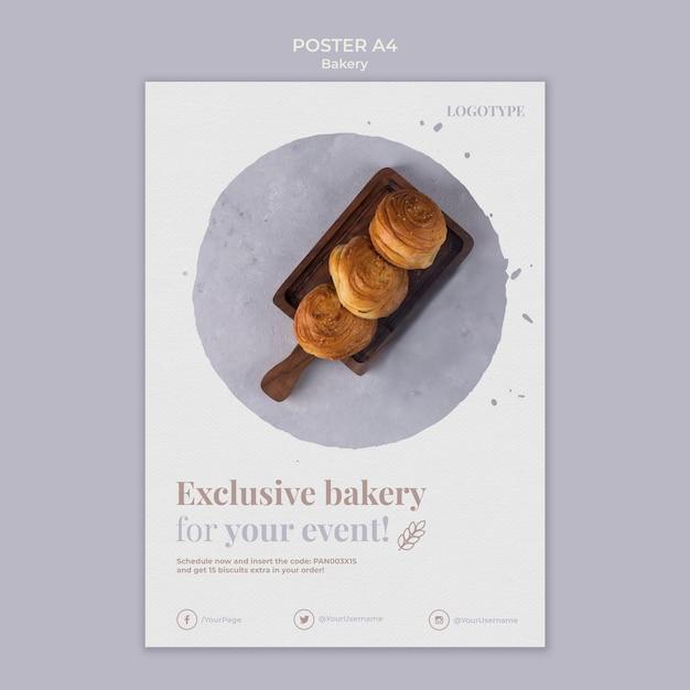 Modelo de cartaz de anúncio de padaria Psd grátis