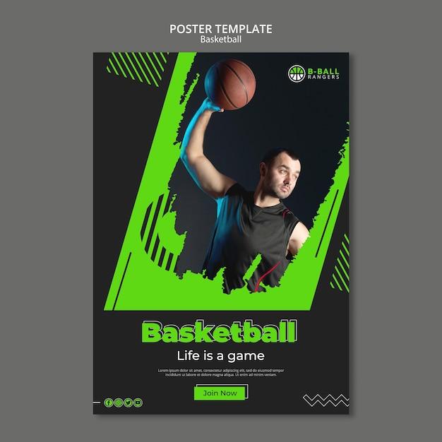Modelo de cartaz de basquete Psd grátis