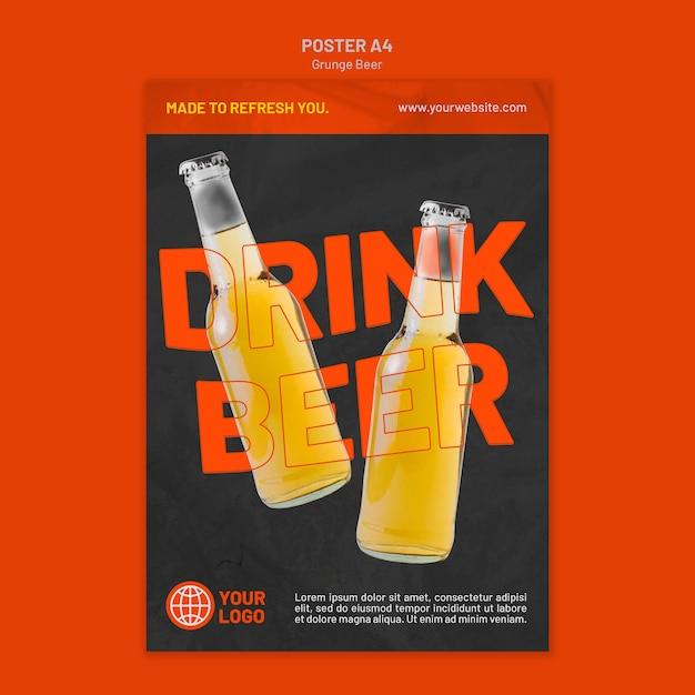 Modelo de cartaz de cerveja grunge Psd grátis