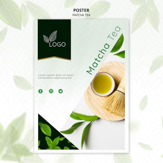 Modelo de cartaz de chá matcha com batedor de bambu Psd grátis