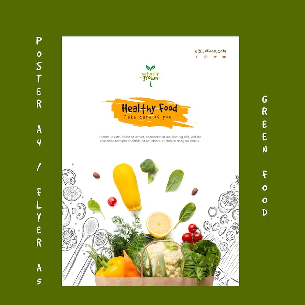 Modelo de cartaz de comida saudável com foto Psd grátis