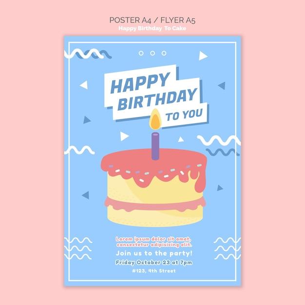 Modelo de cartaz de conceito feliz aniversário Psd grátis
