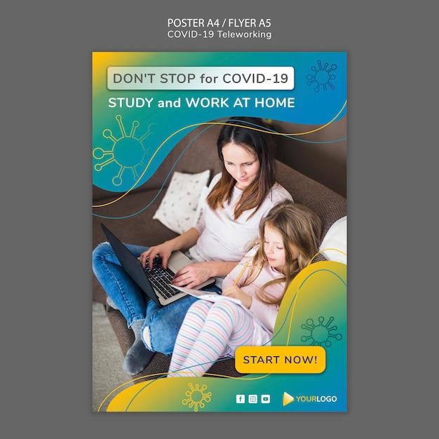 Modelo de cartaz de coronavírus com foto Psd grátis