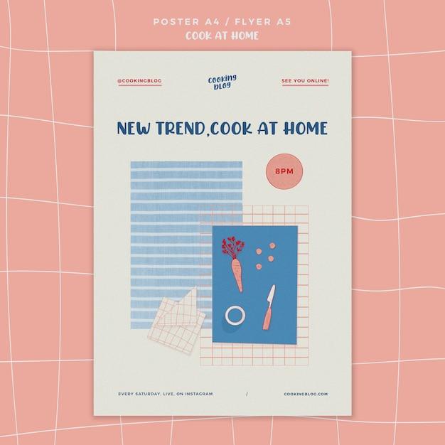 Modelo de cartaz de cozinhar em casa com ilustração Psd grátis