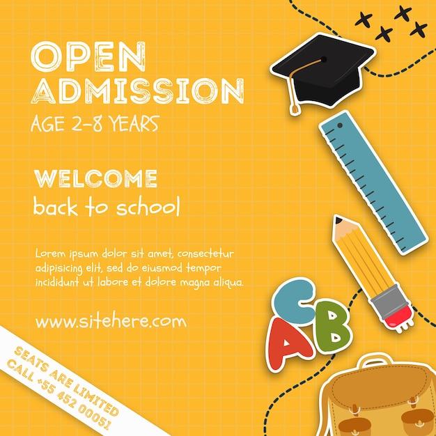 Modelo de cartaz de evento de admissão aberta Psd grátis