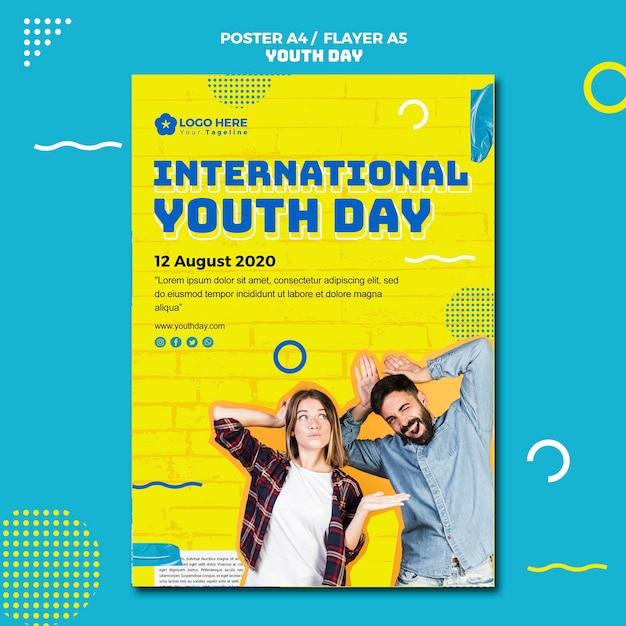 Modelo de cartaz de evento do dia da juventude Psd grátis