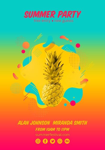 Modelo de cartaz de festa de verão colorido Psd grátis