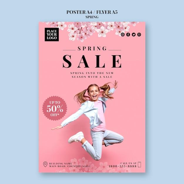 Modelo de cartaz de festa primavera Psd Premium