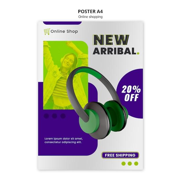 Modelo de cartaz de loja on-line de dispositivos com fones de ouvido Psd grátis