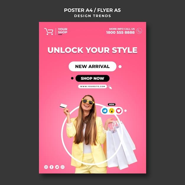 Modelo de cartaz de mulher para compras Psd Premium