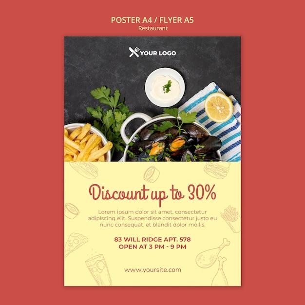 Modelo de cartaz de oferta de desconto de restaurante Psd grátis