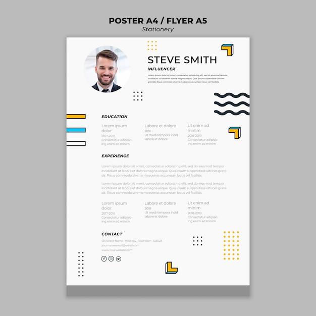Modelo de cartaz de papelaria curriculum vitae Psd grátis