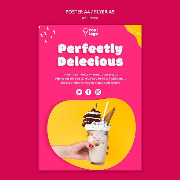 Modelo de cartaz de sorvete perfeitamente delicioso Psd grátis