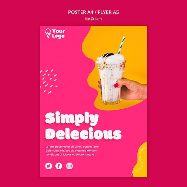 Modelo de cartaz de sorvete simplesmente delicioso Psd grátis