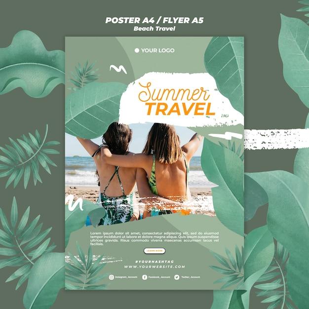Modelo de cartaz de viagens juntos verão de mulheres Psd grátis