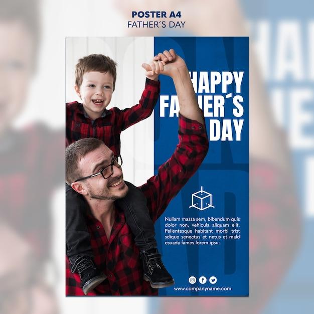 Modelo de cartaz - dia dos pais pai e filho Psd Premium