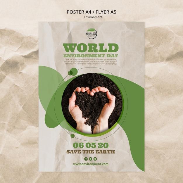 Modelo de cartaz do dia mundial do ambiente com o solo em forma de coração Psd grátis