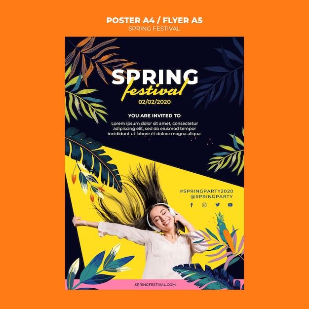 Modelo de cartaz festival da primavera Psd grátis