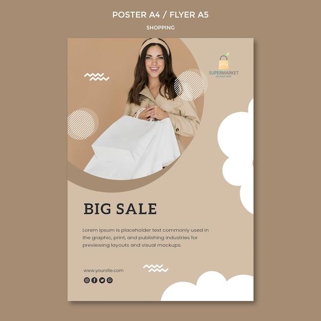 Modelo de cartaz - grande venda de compras Psd grátis