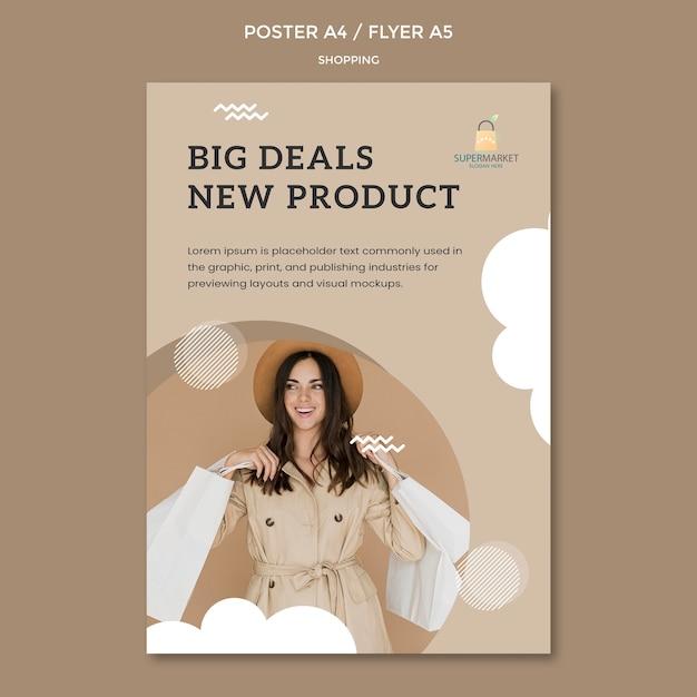 Modelo de cartaz - grandes negócios de compras Psd grátis