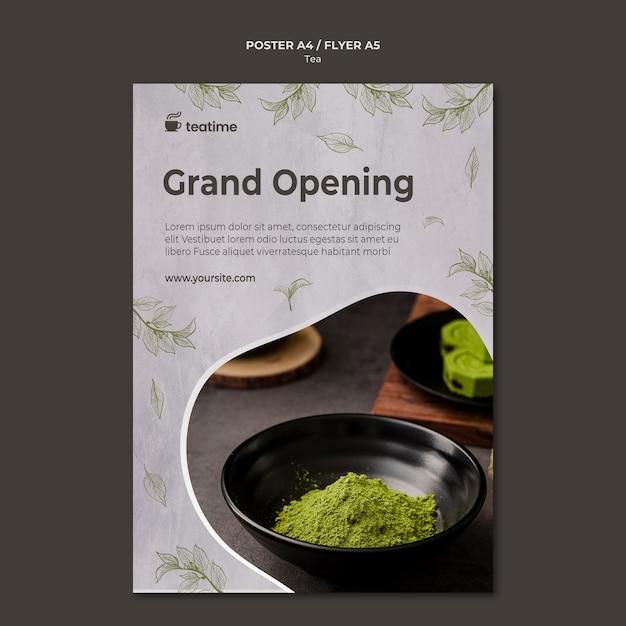 Modelo de cartaz - inauguração do chá matcha Psd grátis